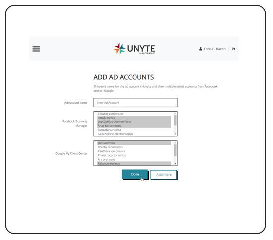 Unyte Facebook & Google account setup